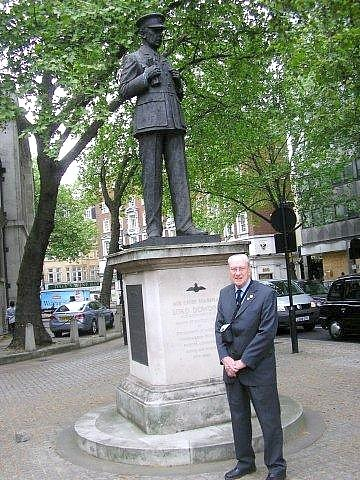 Jack Burgess at the Lord Dowding Statue