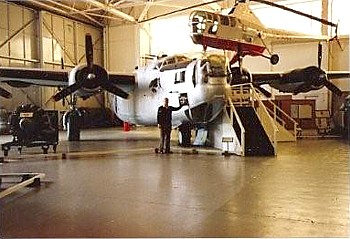Jack Burgess inspecting B24 Liberator KN751 at Cosford, after Doug Connor flew it back.