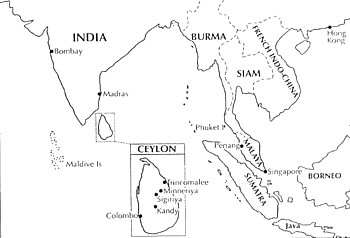 Map shows base at Minneriya, Ceylon.