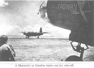 A Marauder at Gambut taxies out for take-off into action